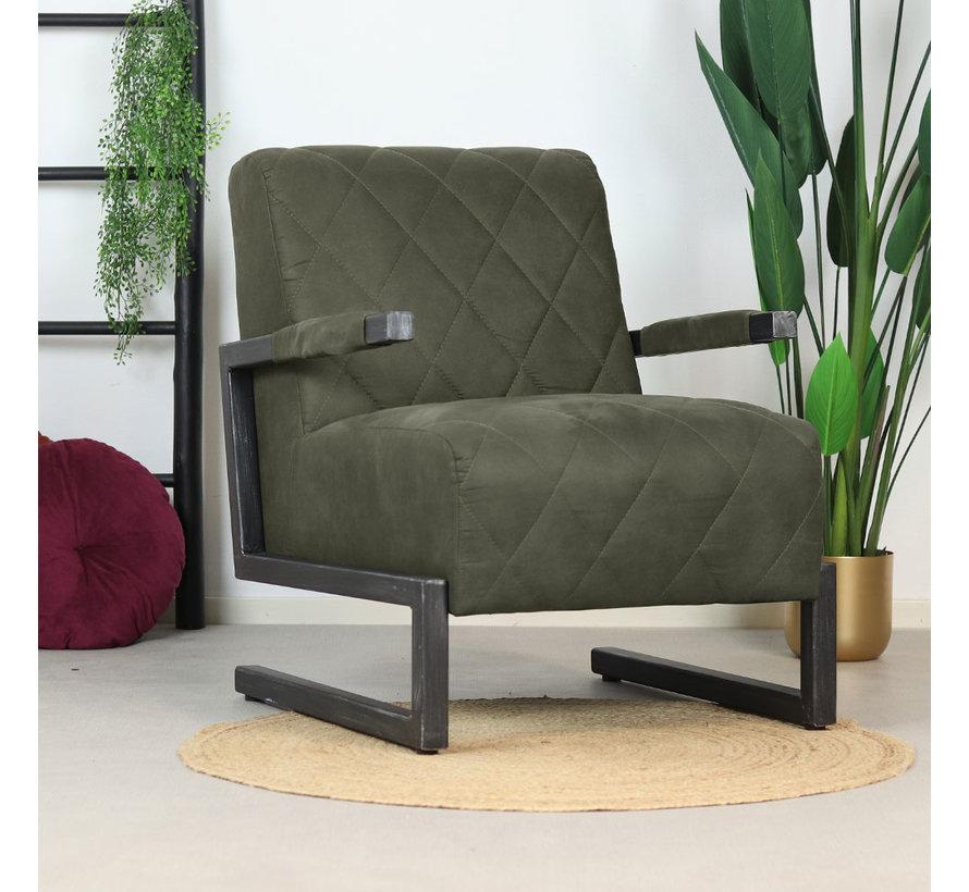 Industriële fauteuil Lucky olijfgroen microvezel
