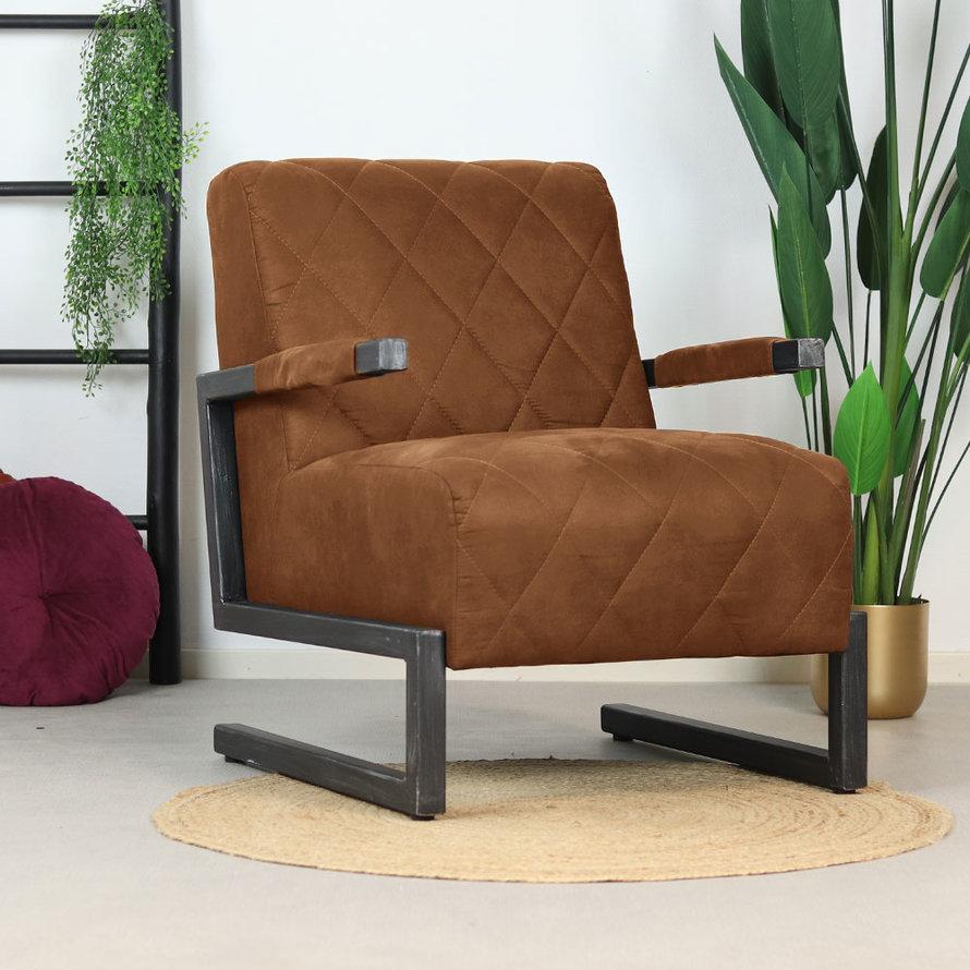 Industriële fauteuil Lucky cognac microvezel