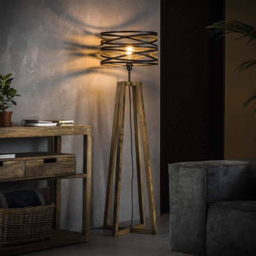 Industriële vloerlamp Sara hout metaal