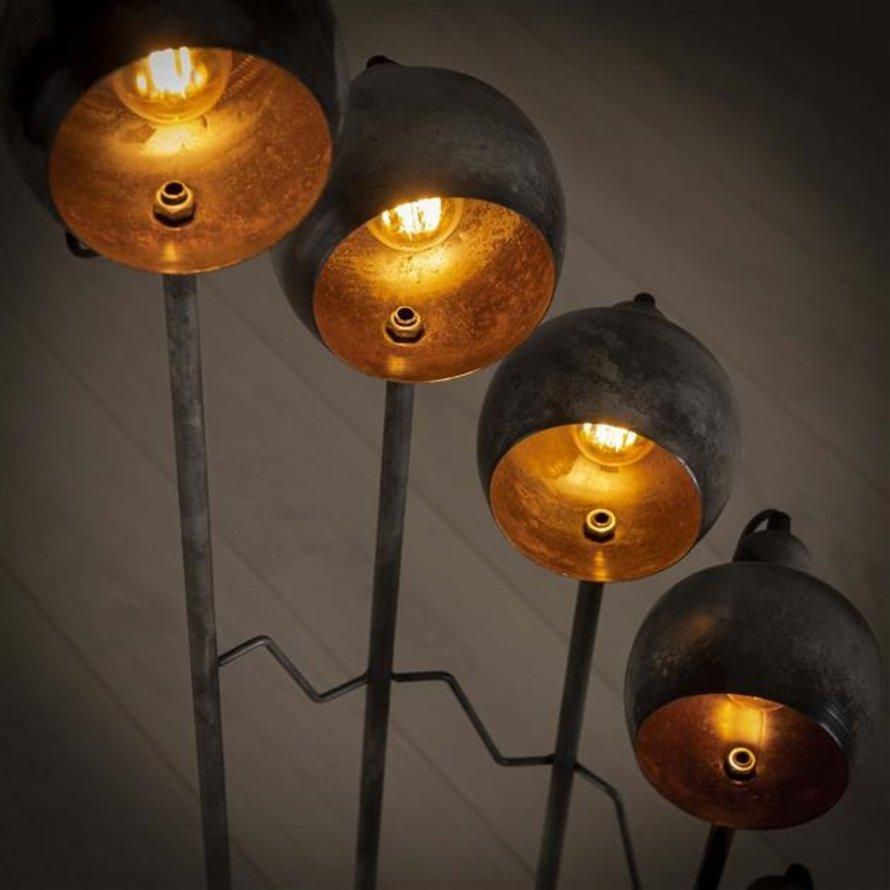 Industriële vloerlamp Tray metaal 8-lichts