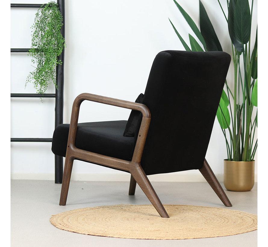 Velvet fauteuil Bibi zwart
