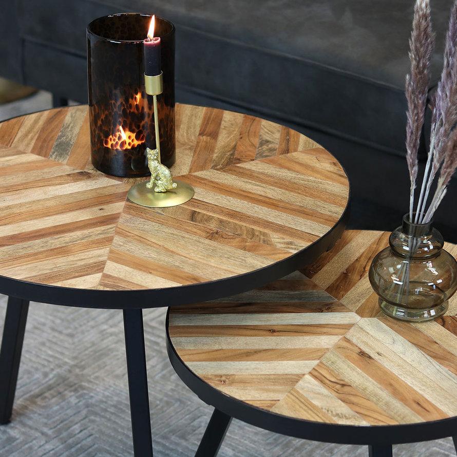 Industriële salontafel set Bronco mangohout (2 stuks)