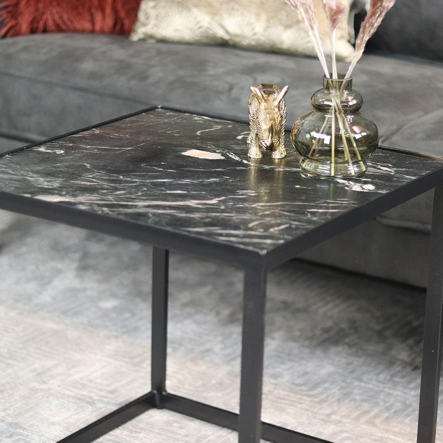 Salontafel marmer zwart 50x50 cm