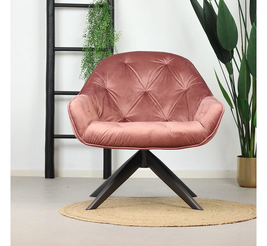 Velvet fauteuil Mila roze