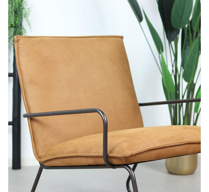 Industriële fauteuil Lucas cognac