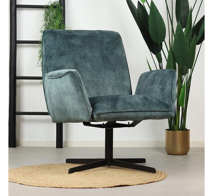 Velvet fauteuil Ava blauw