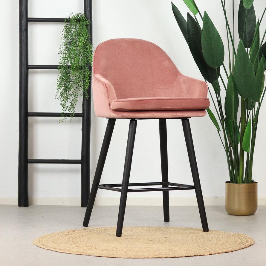 Velvet barkruk Norah roze 65 cm