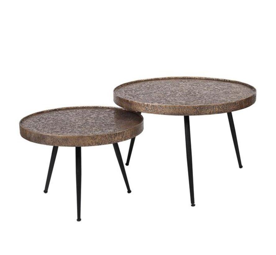 Industriële salontafel set Rose metaal brons (2 stuks)