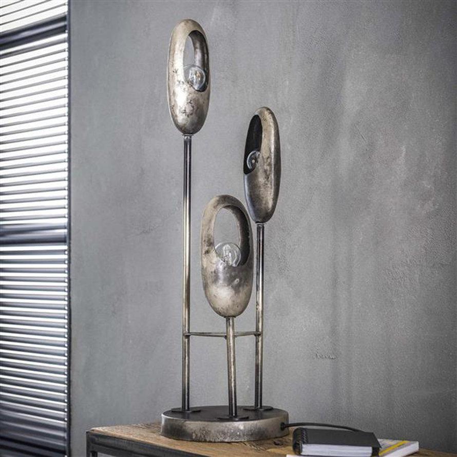 Industriële tafellamp Esther 3-lichts oud zilver