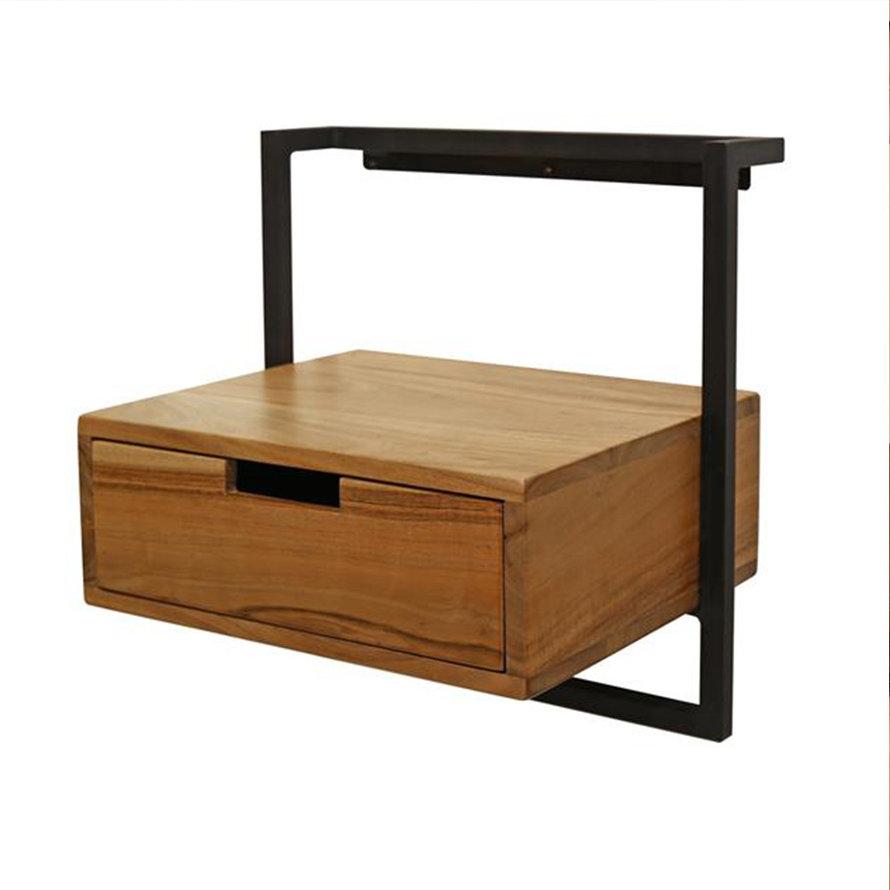 Industrieel nachtkastje Pim acaciahout 1 lade