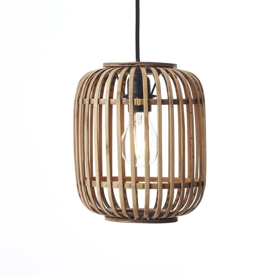 Industriële hanglamp Woody bamboe 3-lichts