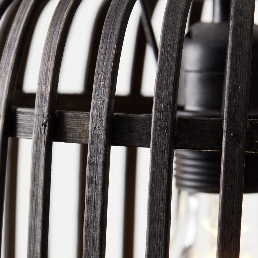 Industriële hanglamp Woody zwart 3-lichts