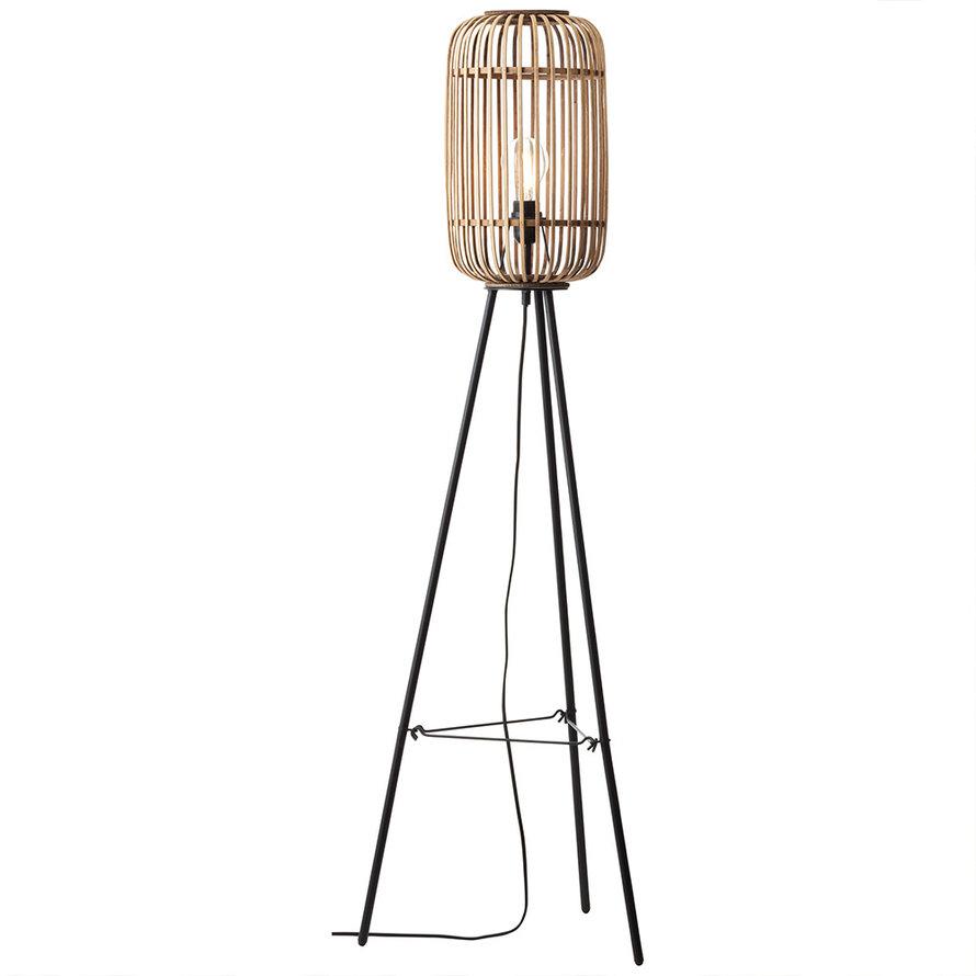 Industriële vloerlamp Woody bamboe 1-lichts