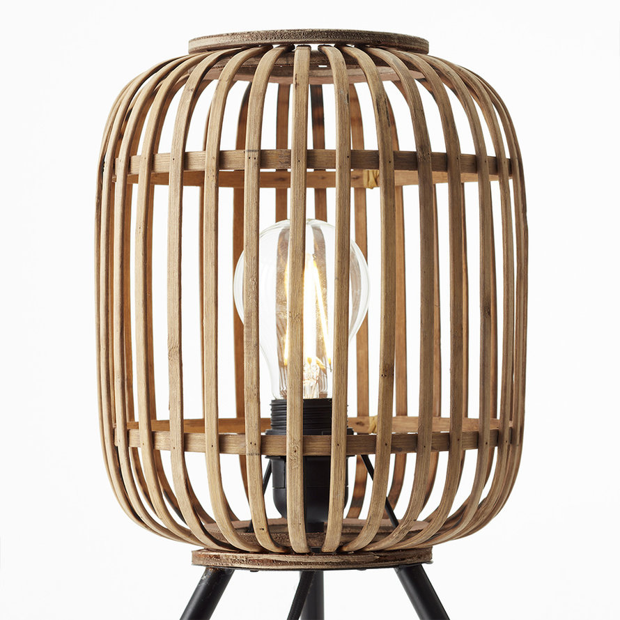 Industriële tafellamp Woody driepoot bamboe 1-lichts
