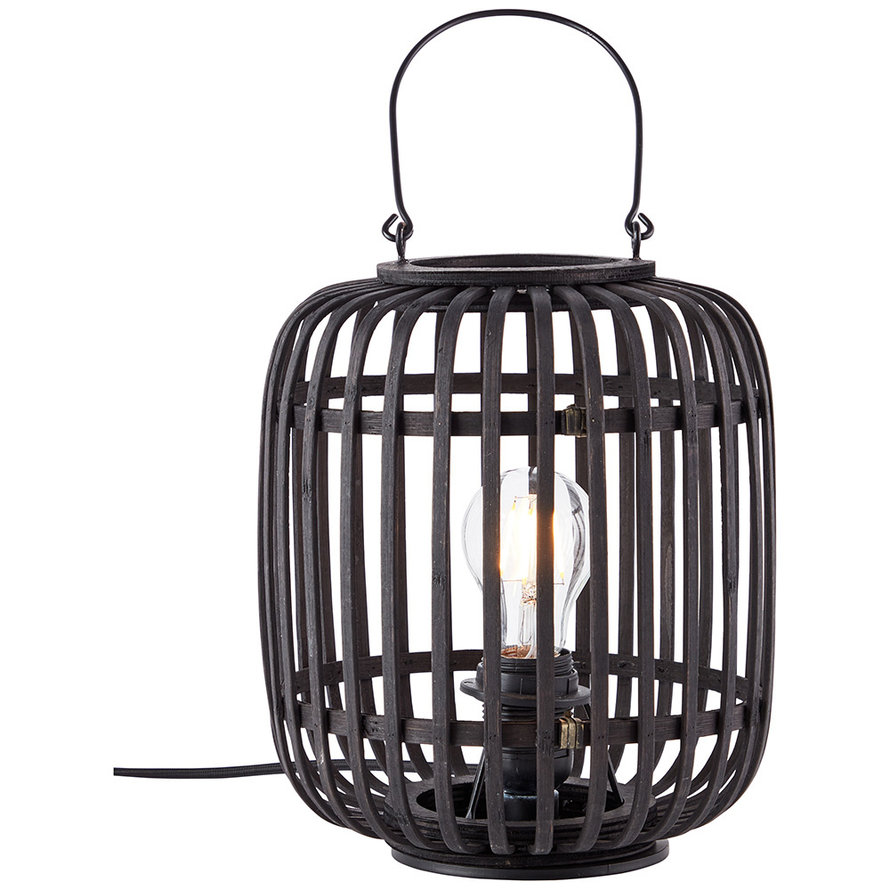 Industriële tafellamp Woody zwart 1-lichts