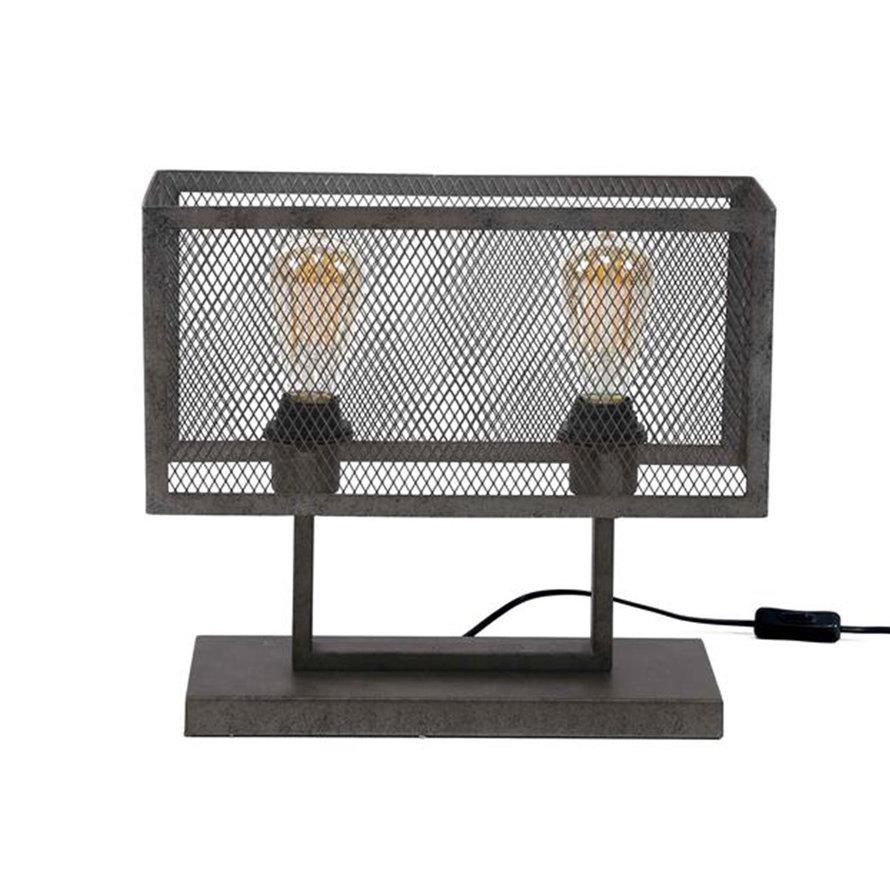 Industriële tafellamp Brooke zwart raster rechthoek