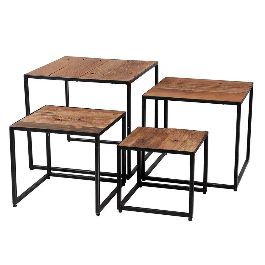 Industriële salontafel Floor hardhout (set van 4)