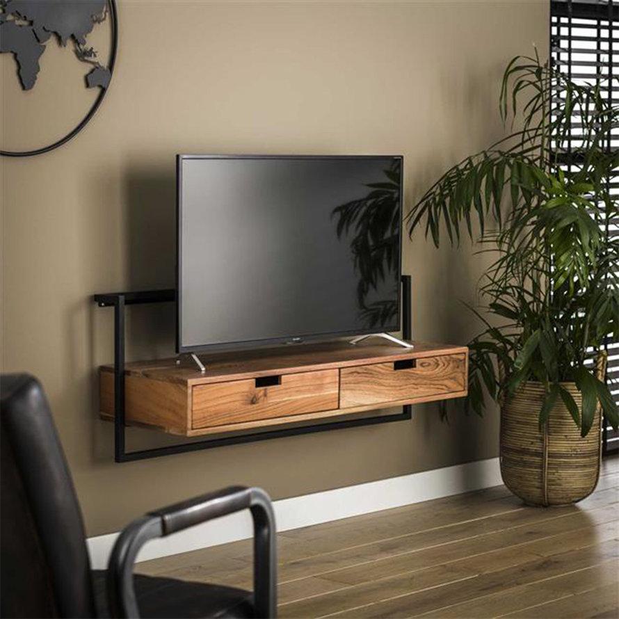 Industrieel tv-meubel Pim acaciahout 2 lades