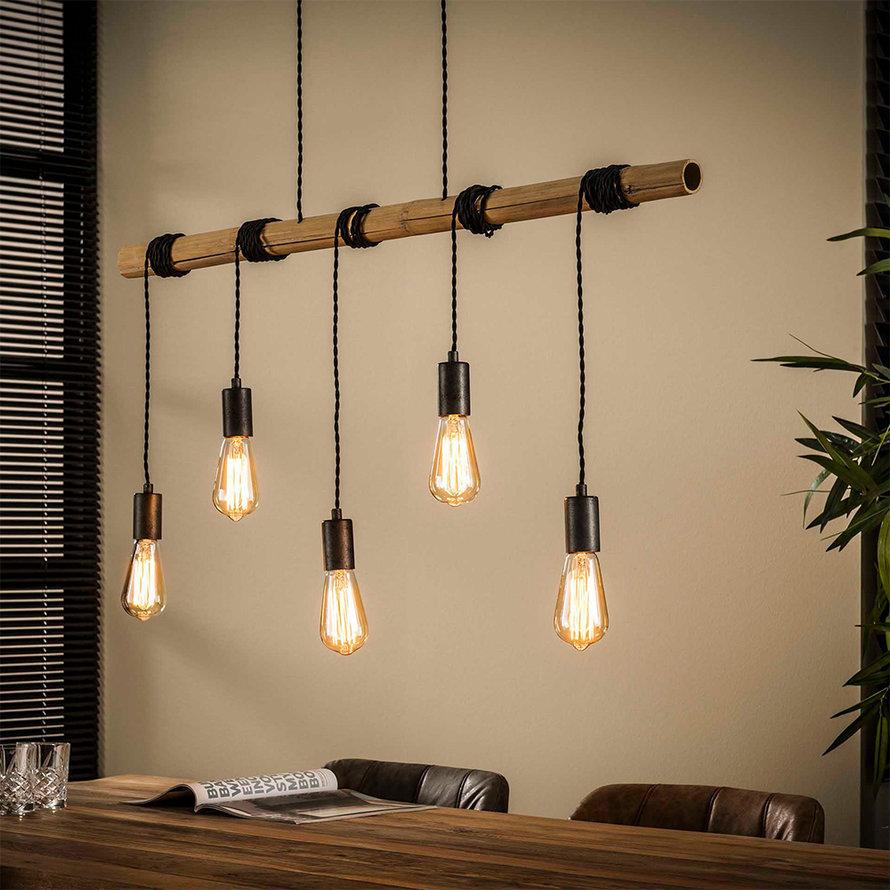 Industriële hanglamp Kian 5-lichts bamboe