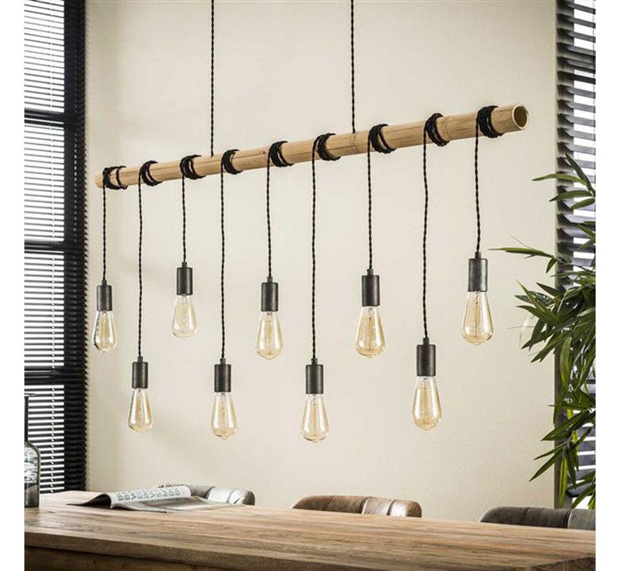 Industriële hanglamp Kian 9-lichts bamboe