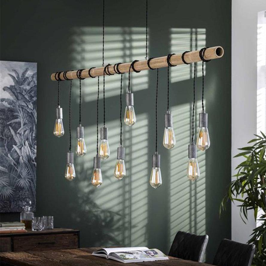 Industriële hanglamp Kian 11-lichts bamboe