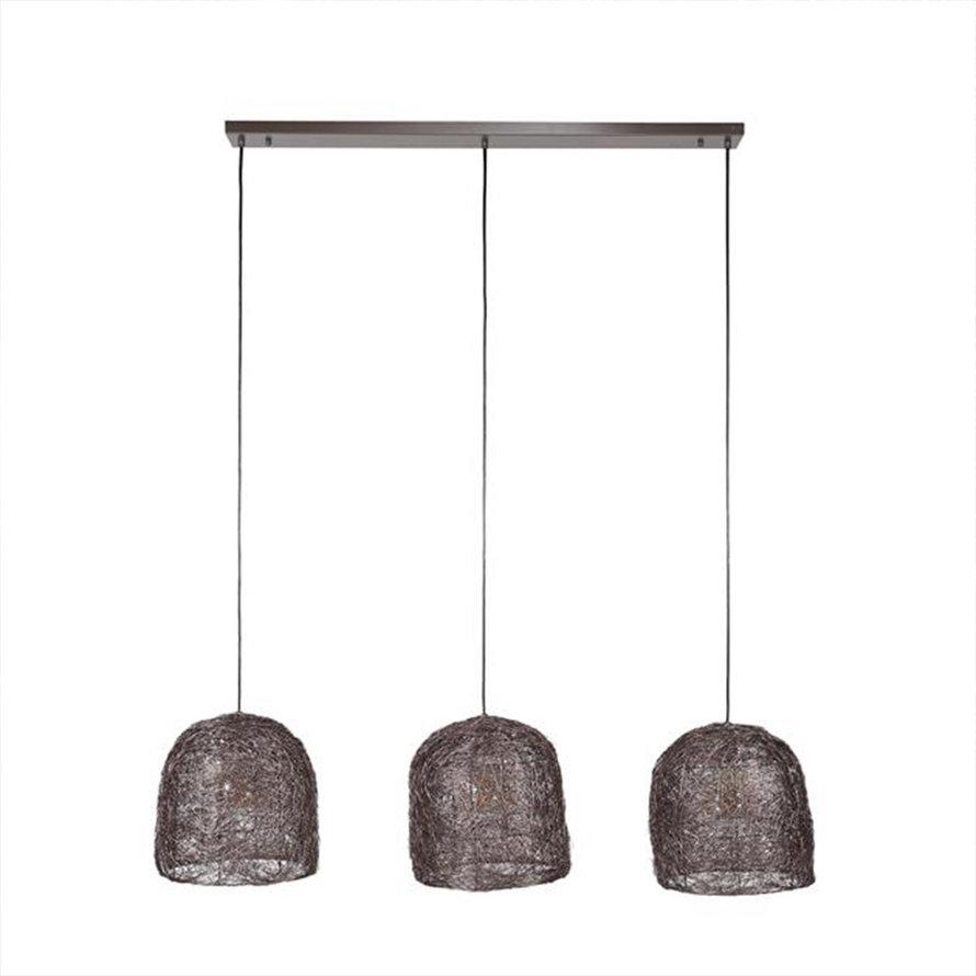 Industriële hanglamp Jaxx 3-lichts antiek koper