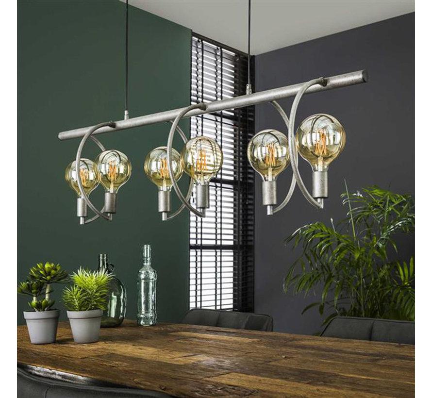 Industriële hanglamp Ezra 6-lichts oud zilver