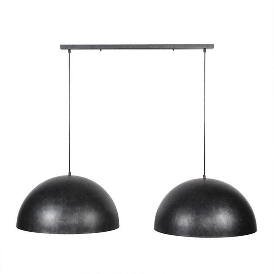 Industriële hanglamp Joas 2-lichts charcoal