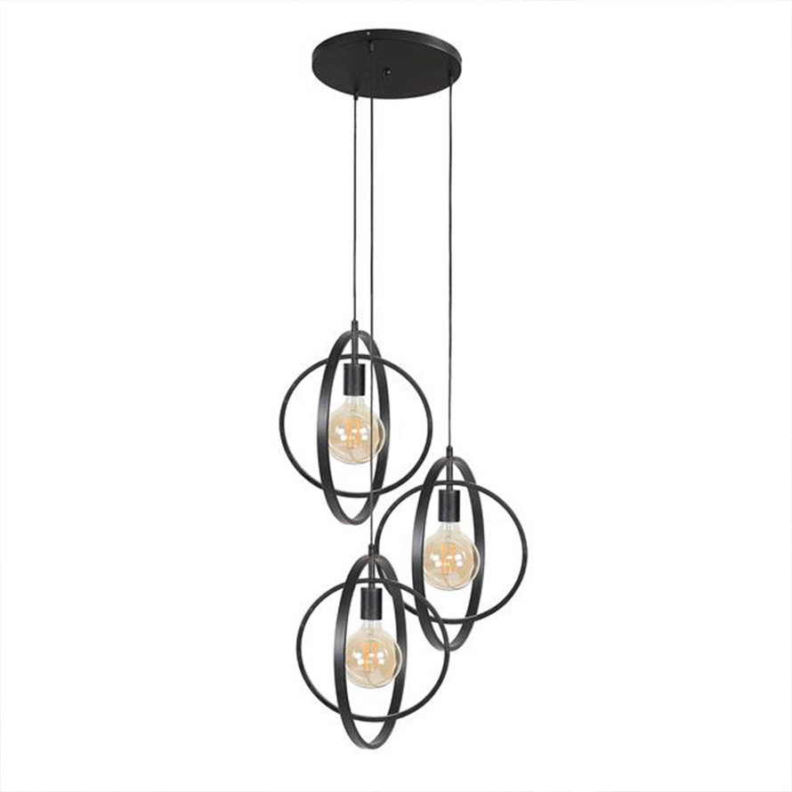 Industriële hanglamp Rotate charcoal 3-lichts getrapt