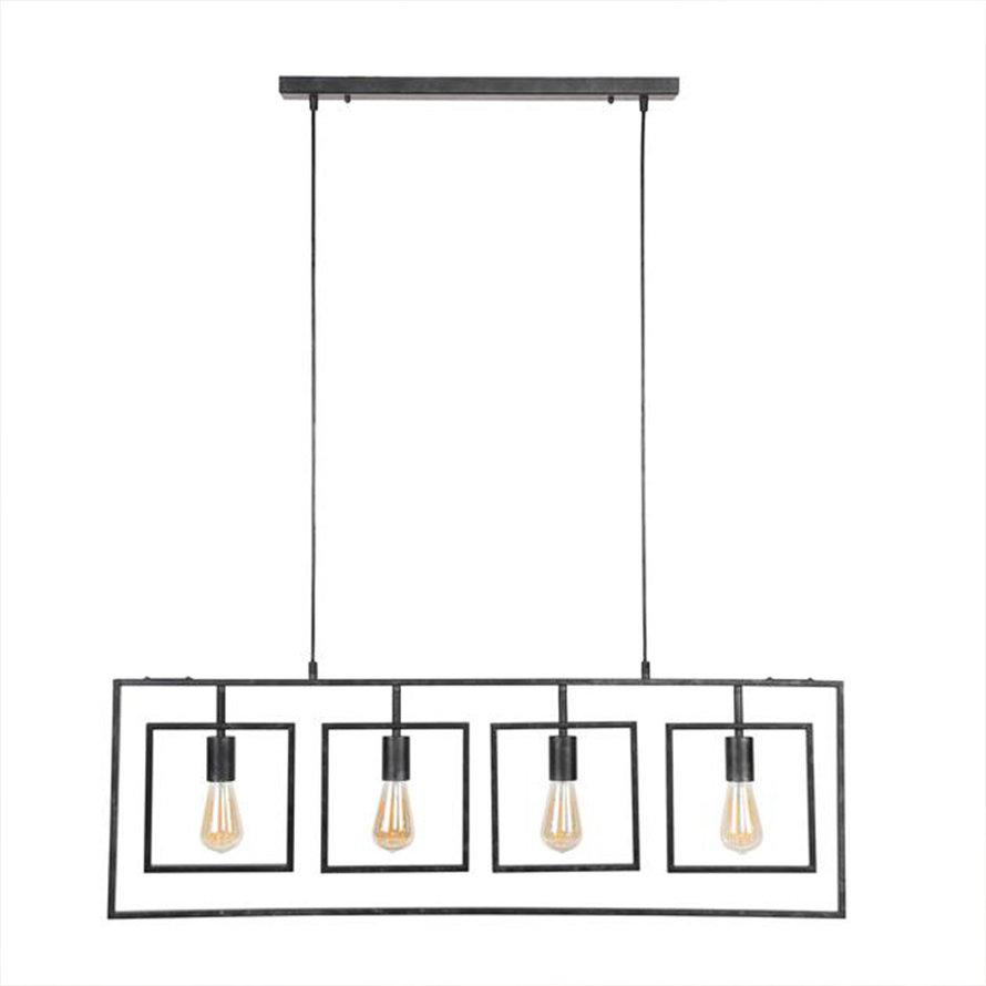 Industriële hanglamp Mick charcoal 4-lichts