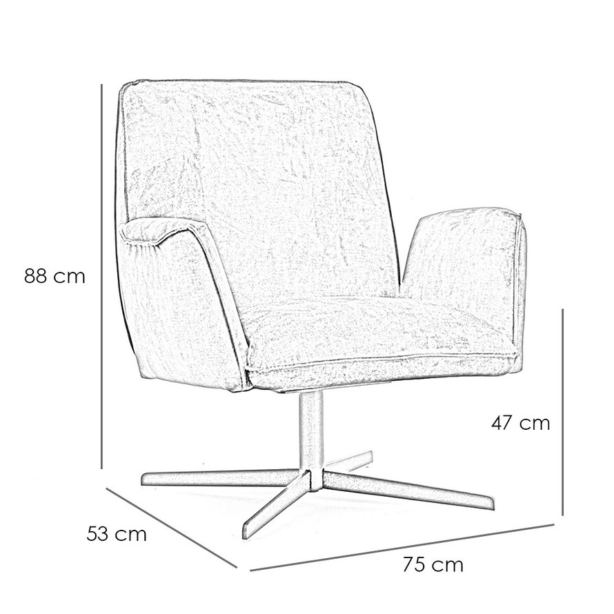 Velvet fauteuil Ava okergeel