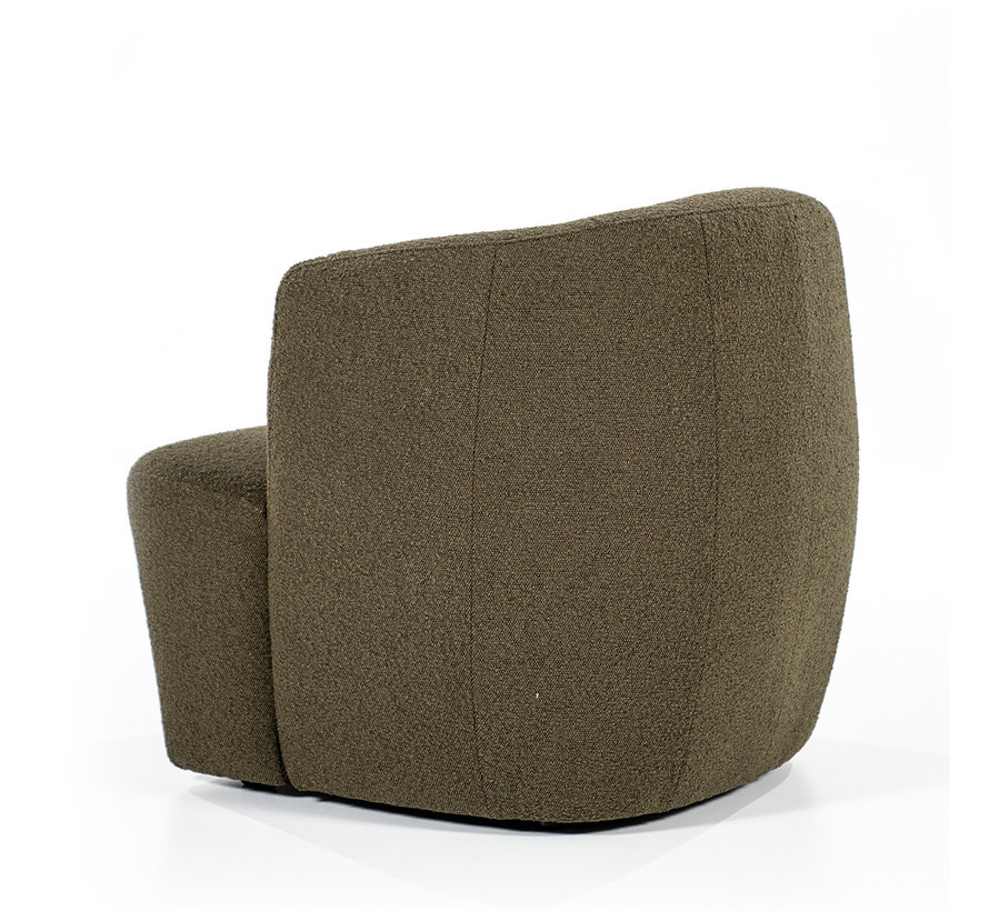 Boucle fauteuil Diana groen stof