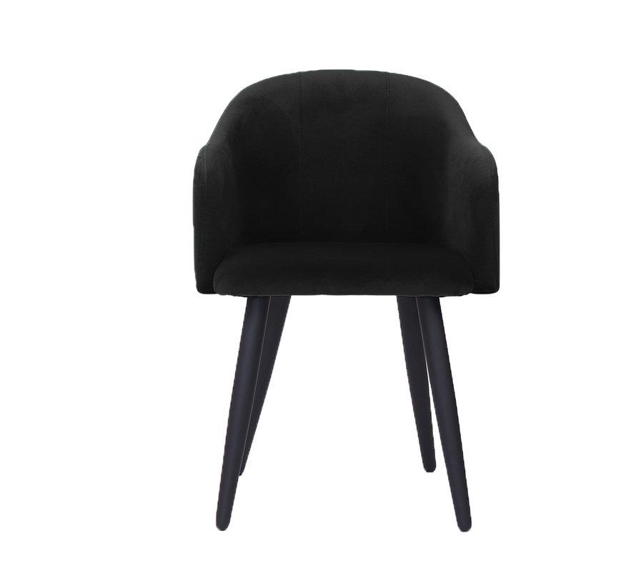 Velvet eetkamerstoel Leroy zwart
