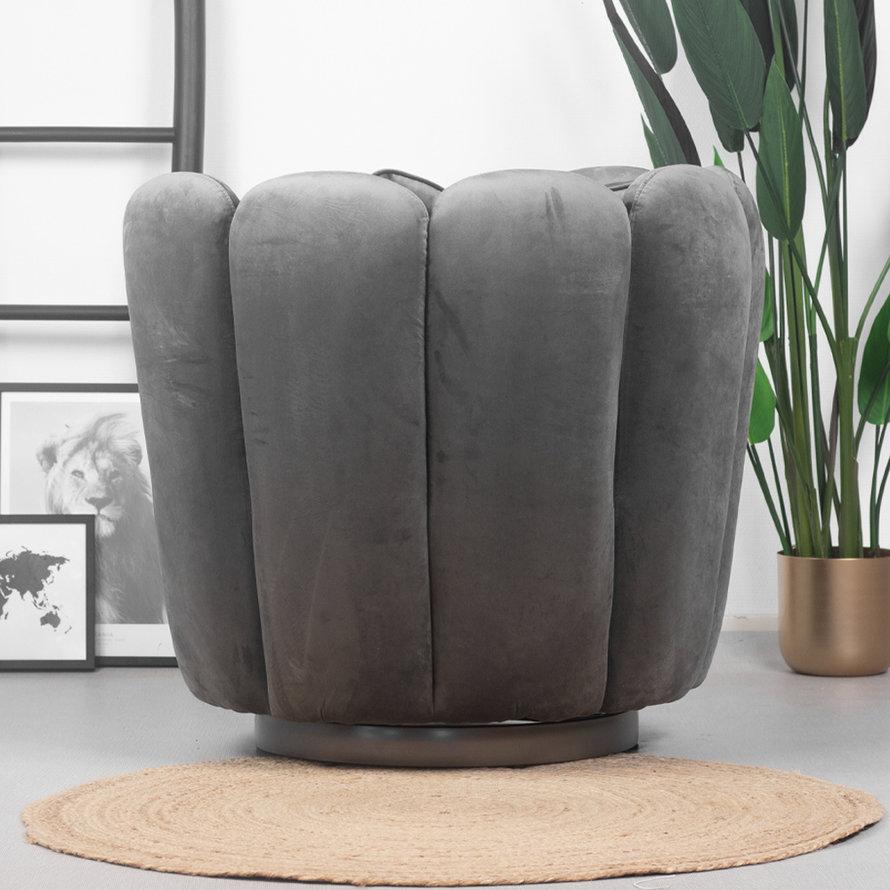 Velvet fauteuil Maria grijs draaibaar