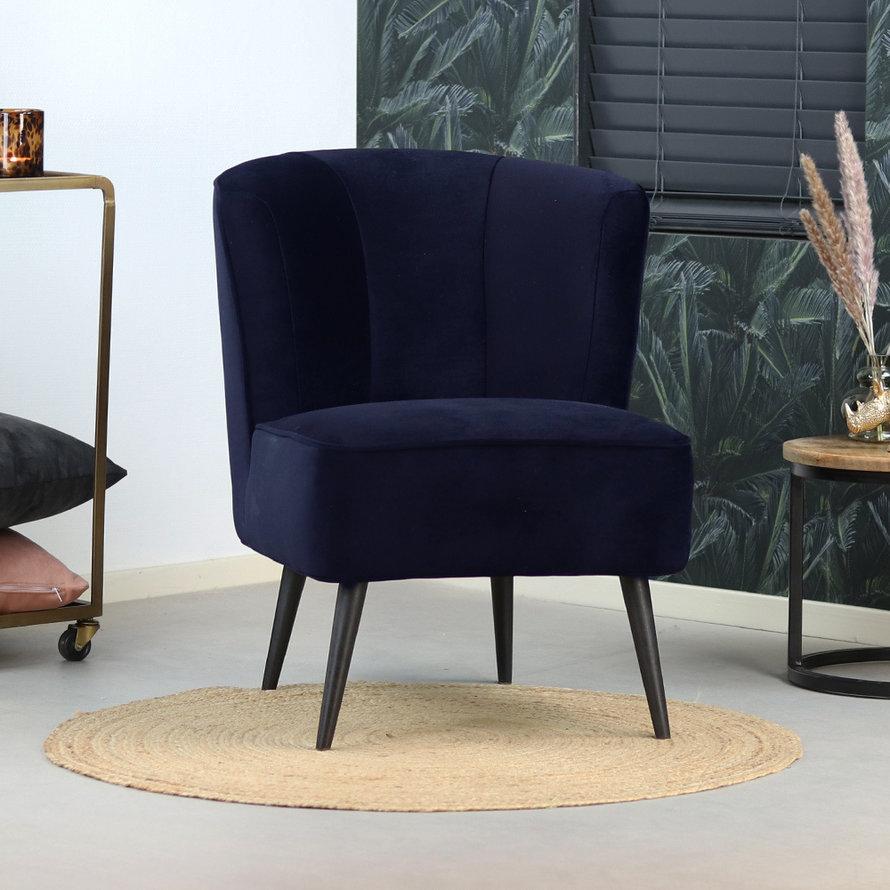 Velvet fauteuil Lyla donkerblauw