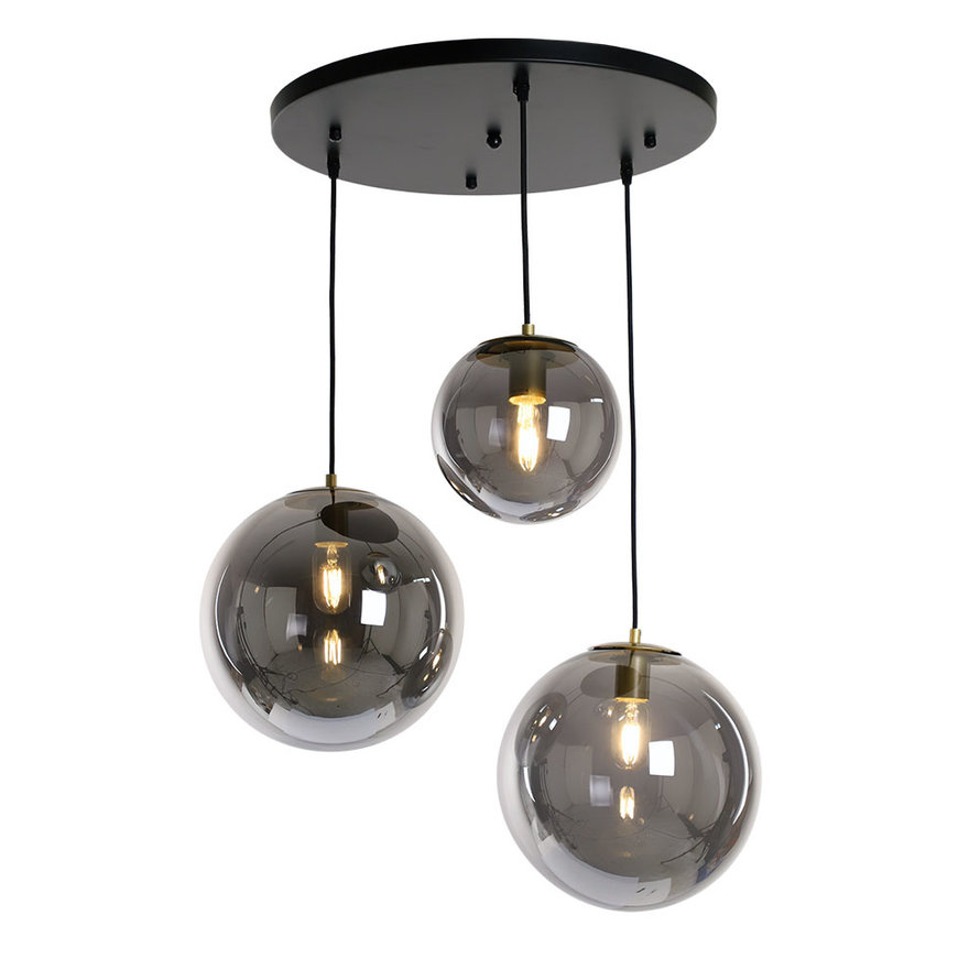Hanglamp Alvin 3-lichts Smoke