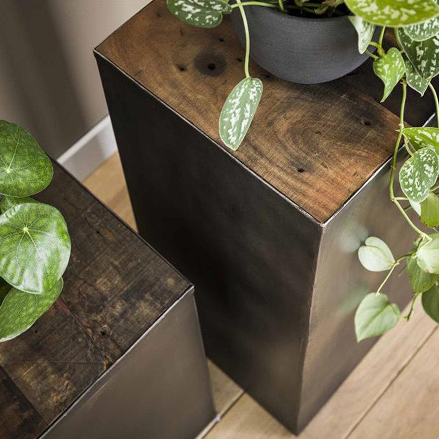 Industrieel plantenzuil Roos 70 cm hout metaal
