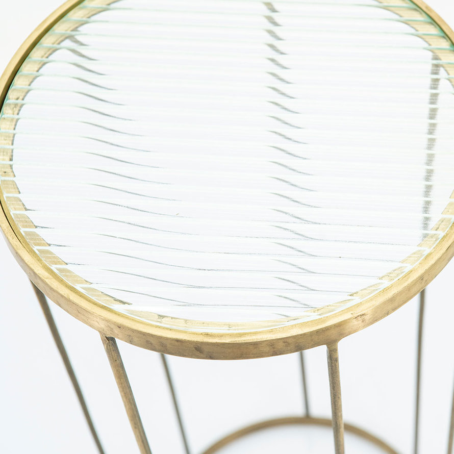 Bijzettafel goud glas Flora laag 60 cm