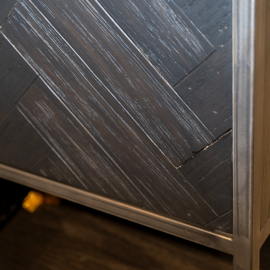 Wandkast Hudson acaciahout zwart visgraat