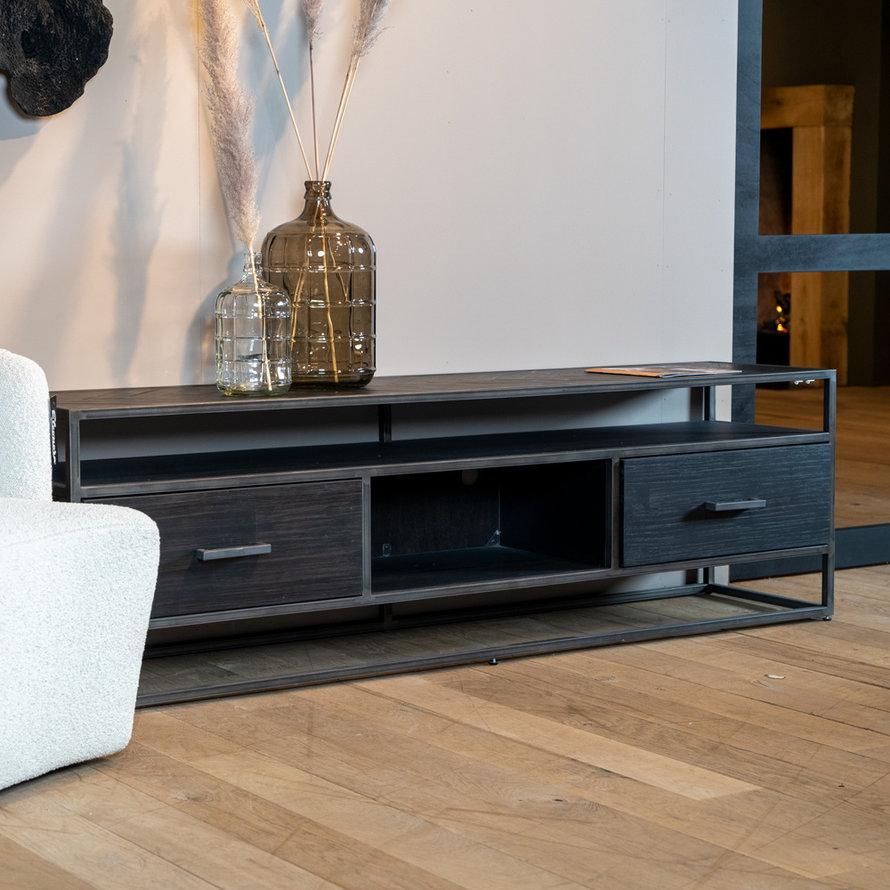 TV meubel Hudson acaciahout zwart 185 cm visgraat