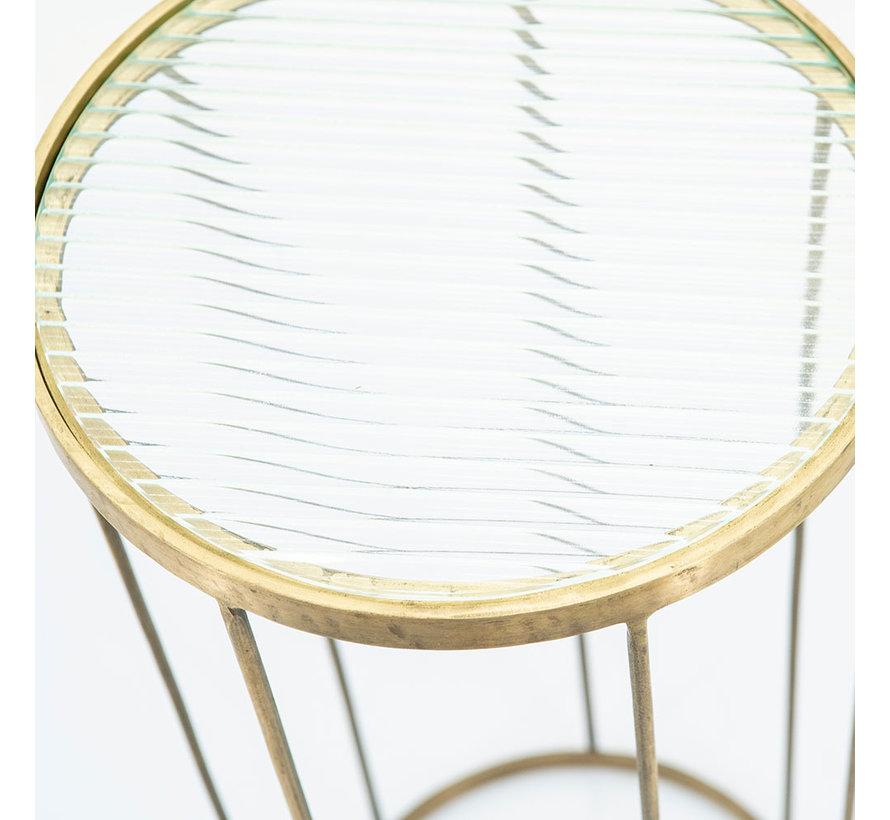 Bijzettafel goud glas Flora hoog 70 cm