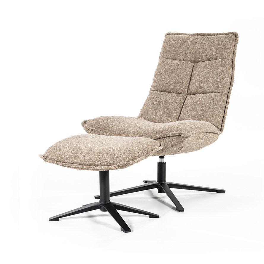 Bouclé fauteuil Wenny met hocker beige