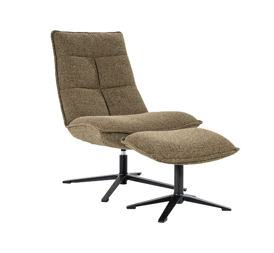 Bouclé fauteuil met hocker Wenny groen
