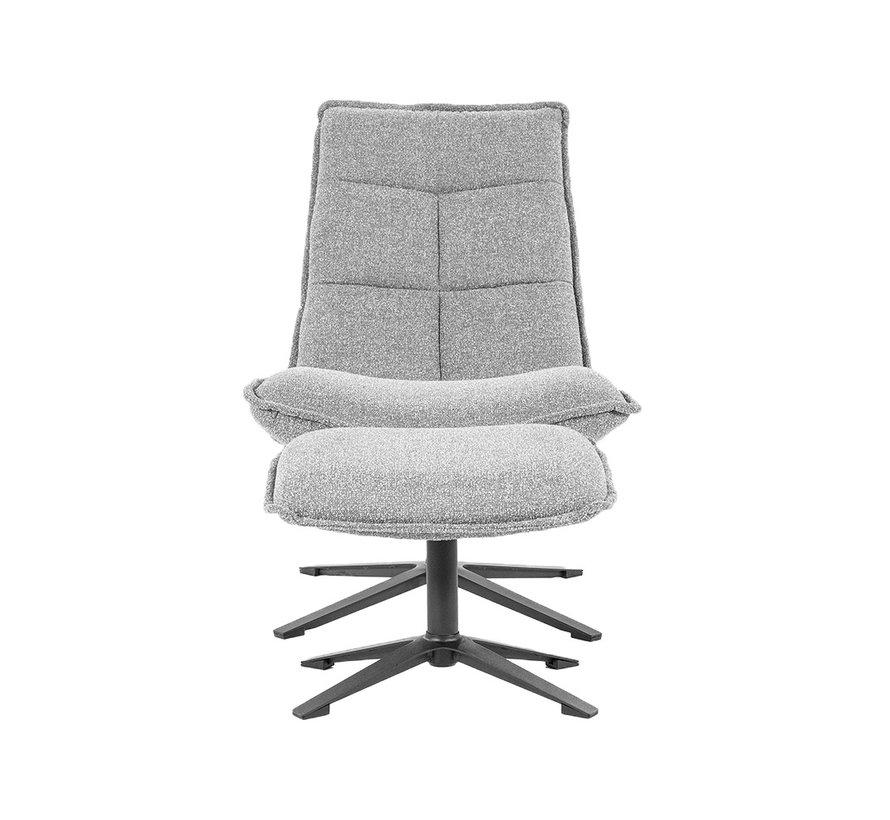 Bouclé fauteuil Wenny met hocker grijs
