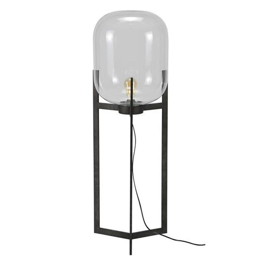 Industriële vloerlamp Kelsi glas metaal