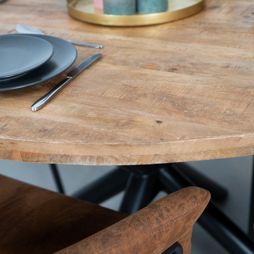 Eettafel rond Lily met kruispoot mangohout Ø150 cm