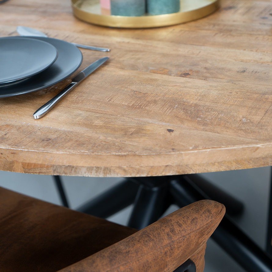 Eettafel rond met kruispoot mangohout Ø150 cm