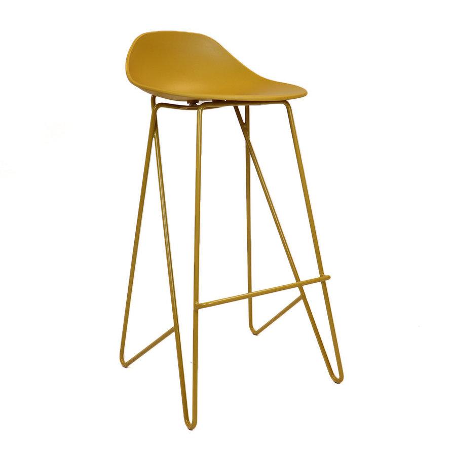 Scandinavische barkruk Lova geel 77 cm
