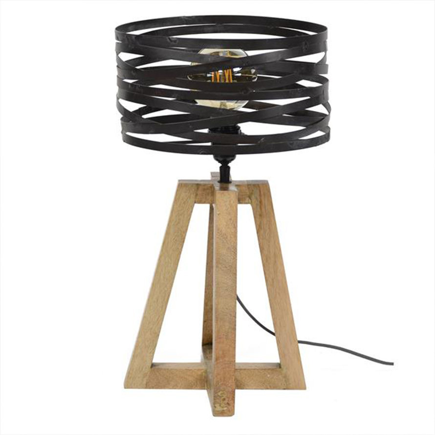 Industriële tafellamp Sara hout metaal