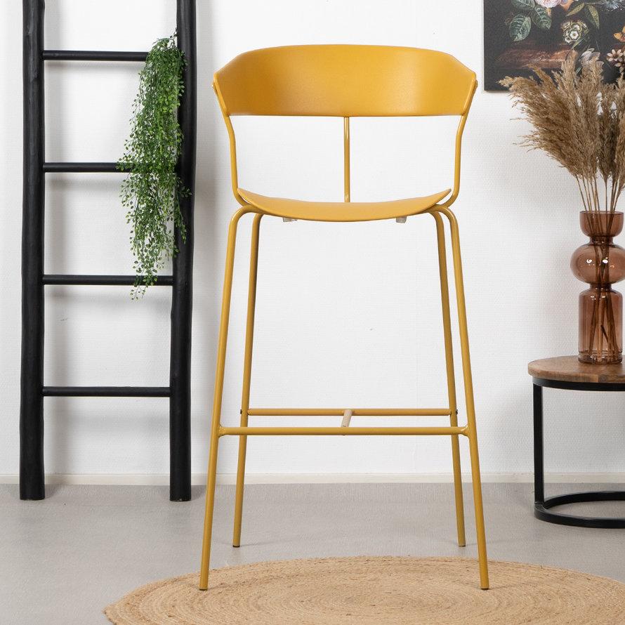Scandinavische barkruk Olea geel 77 cm